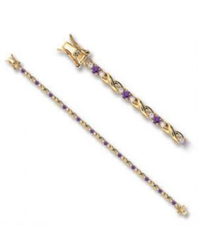 46805-7 - Brass Gold Bracelet AAA Grade CZ Tanzanite