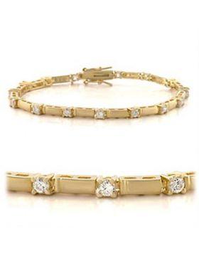 47404-7 - Brass Gold Bracelet AAA Grade CZ Clear