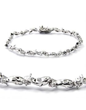 6X490-7 - Brass Rhodium Bracelet AAA Grade CZ Clear