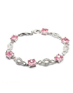 6X494-7 - Brass Rhodium Bracelet AAA Grade CZ Rose
