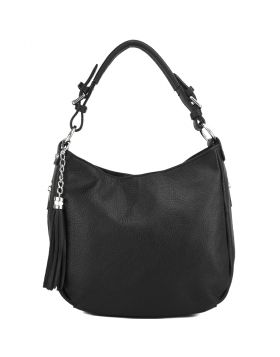 Victoire shoulder bag in calf-skin leather -  black