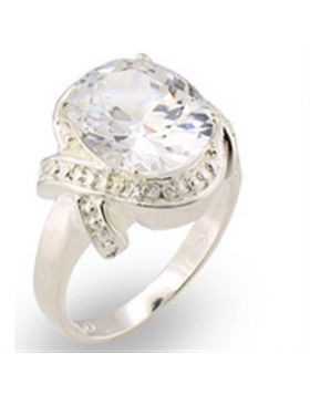 30306-10 - 925 Sterling Silver High-Polished Ring AAA Grade CZ Clear