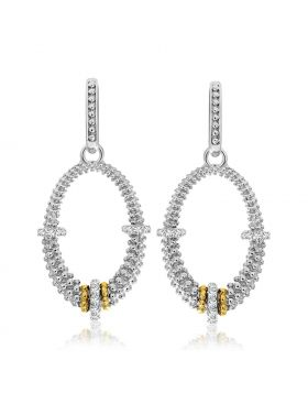 18k Yellow Gold & Sterling Silver Diamond Accented Graduated Oval Earrings