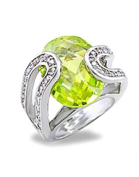 Ring Brass Rhodium AAA Grade CZ Apple Green color