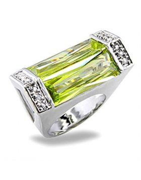 Ring Brass Rhodium Synthetic Peridot Spinel