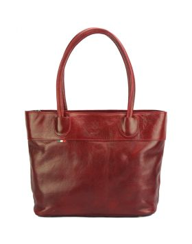 Tote V bag in leather -  dark red