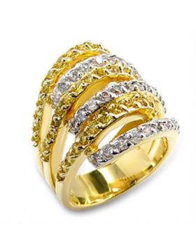 Ring Brass Gold+Rhodium AAA Grade CZ Topaz