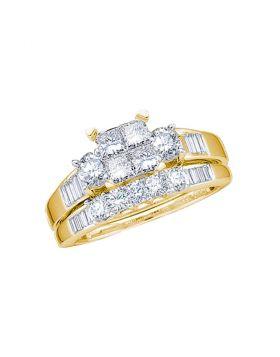 10kt Yellow Gold Womens Princess Diamond Bridal Wedding Engagement Ring Band Set 1.00 Cttw Size 8