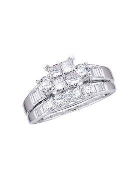 10kt White Gold Womens Princess Diamond Bridal Wedding Engagement Ring Band Set 1.00 Cttw Size 8