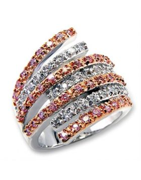 Ring Brass Rose Gold + Rhodium AAA Grade CZ Rose