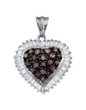 10kt Yellow Gold Womens Round Brown Diamond Heart Cluster Pendant 1.00 Cttw