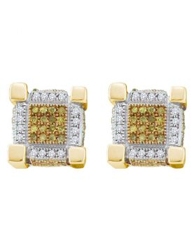 Sterling Silver Unisex Round Yellow Color Enhanced Diamond 3D Cube Stud Earrings 1/2 Cttw