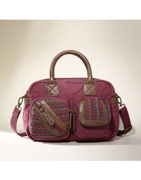Women Patchwork National Handbag Linen Handmade Crossbody Ba