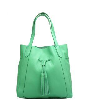 Prudenzia leather shoulder bag -  light green