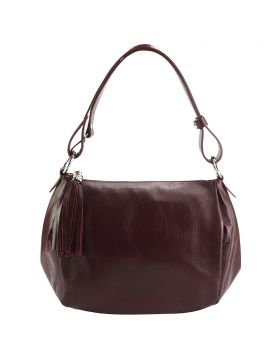 Luisa leather shoulder bag - Bordeaux