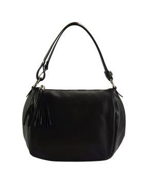 Luisa leather shoulder bag - Black