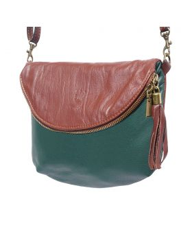Rachele leather crossbody bag - Dark Green/Brown