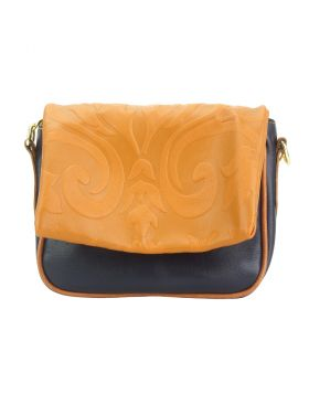 Crossbody bag Amara with printed flap - Dark Blue/Tan