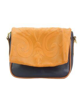 Crossbody bag Amara with printed flap - Dark Blue/Tan