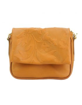 Crossbody bag Amara with printed flap - Tan