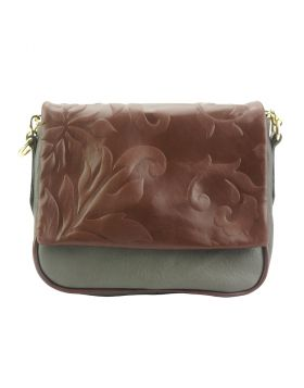 Crossbody bag Amara with printed flap - Grey/Brown