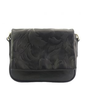 Crossbody bag Amara with printed flap - Black