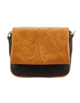 Crossbody bag Amara with printed flap - Black/Tan