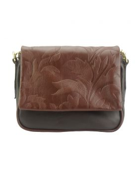 Crossbody bag Amara with printed flap - Dark Brown/Brown