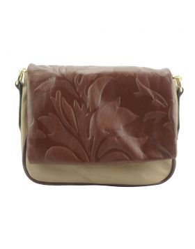 Crossbody bag Amara with printed flap - Light Taupe/Brown