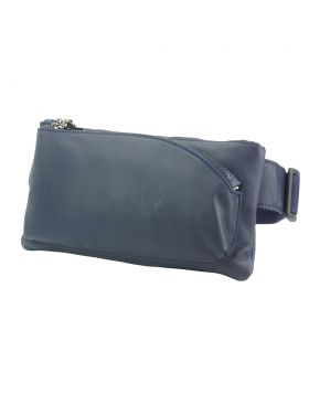 Vivaldo Fanny Pack in leather - Dark Blue