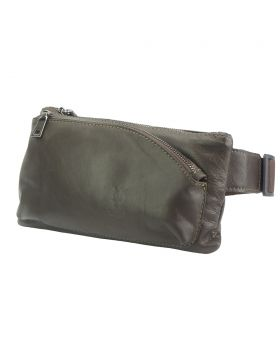 Vivaldo Fanny Pack in leather - Dark Brown