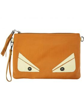 Teodora Clutch in smooth calfskin leather - Tan