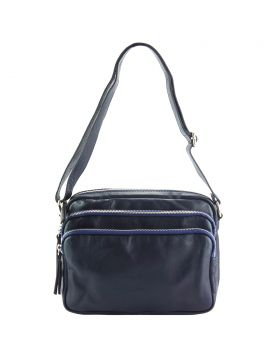 Assunta leather shoulder bag - Blue
