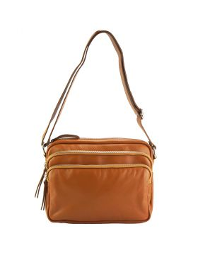 Assunta leather shoulder bag - Tan
