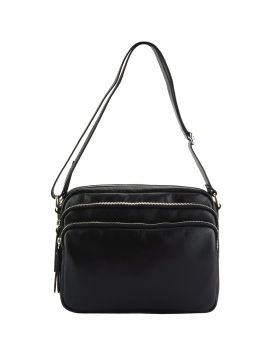 Assunta leather shoulder bag - Black