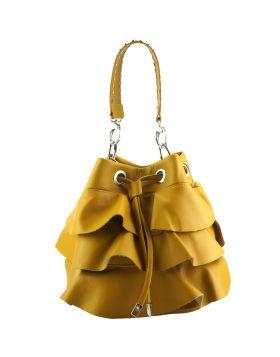 Ileana leather bucket bag - Golden