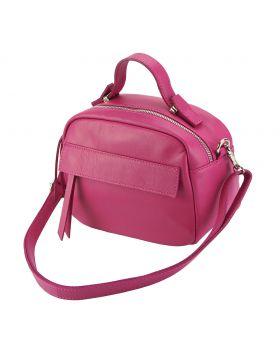 Lorena leather Handbag - Fuschia