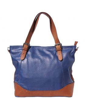 Milena leather Tote bag - Dark Blue/Brown