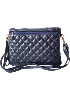 Wristlet made with quilted calf leather - Dark Blue