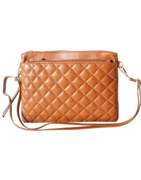 Wristlet made with quilted calf leather - Tan