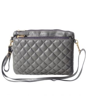 Wristlet made with quilted calf leather - Grey