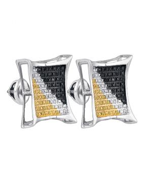Sterling Silver Unisex Round Black Yellow Color Enhanced Diamond Square Cluster Earrings 1/4 Cttw