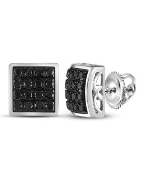 Sterling Silver Unisex Round Black Color Enhanced Diamond Square Cluster Earrings 3/4 Cttw