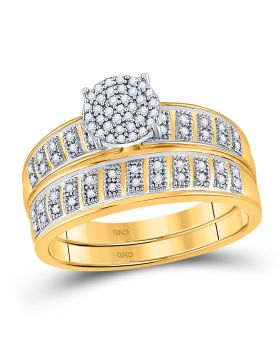 10kt Yellow Gold Womens Round Diamond Bridal Wedding Engagement Ring Band Set 1/5 Cttw