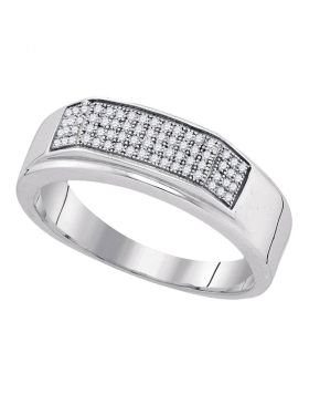 Sterling Silver Unisex Round Diamond Micropave Flat Wedding Anniversary Band Ring 1/5 Cttw