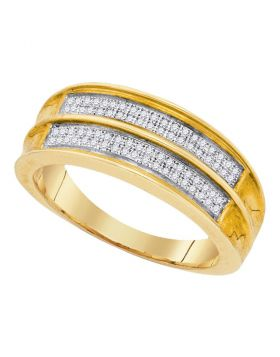 Unisex .925 Sterling Silver Yellow Pave Diamond Engagement Wedding Ring Band 1/5CT