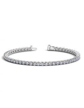 14k White Gold Round Diamond Tennis Bracelet (5 cttw)