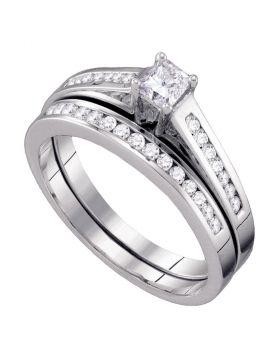10kt White Gold Womens Princess Diamond Bridal Wedding Engagement Ring Band Set 1/2 Cttw