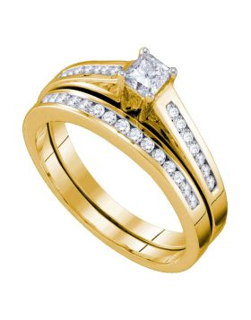 10kt Yellow Gold Womens Princess Diamond Bridal Wedding Engagement Ring Band Set 1/2 Cttw