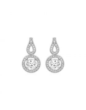 Earrings with Circle and Teardrop Motif with Cubic Zirconia in Sterling Silver
